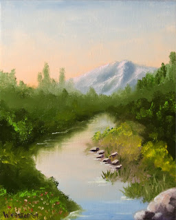 River in the Foothills Painting - Daily Painting Blog - Original Oil and Acrylic Artwork by Artist Mark Webster