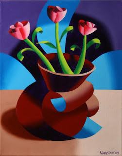 Futurist Dancing Abstract Flower Pot - Step Two - Daily Painting Blog Original Oil and Acrylic by Artist Mark Webster