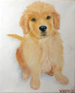 Daily Painters, Daily Paintings, Golden Retriever Puppy in the Snow Painting - Daily Painting Blog - Original Oil and Acrylic Artwork by Artist Mark Webster