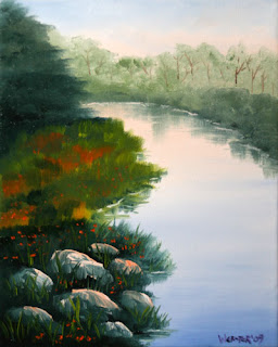 Daily Painters, Daily Paintings, River Rocks at Sunrise - Daily Painting Blog - Original Oil and Acrylic Artwork by Artist Mark Webster