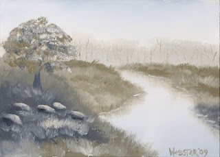 Daily Painters - Grayscape #4 - Black and White Landscape Painting - Daily Painter - Original Oil and Acrylic Art - Painting a Day by California Artist Mark A. Webster
