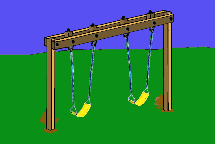 Howdy ya dewit homemade backyard swings for Swing set frame only