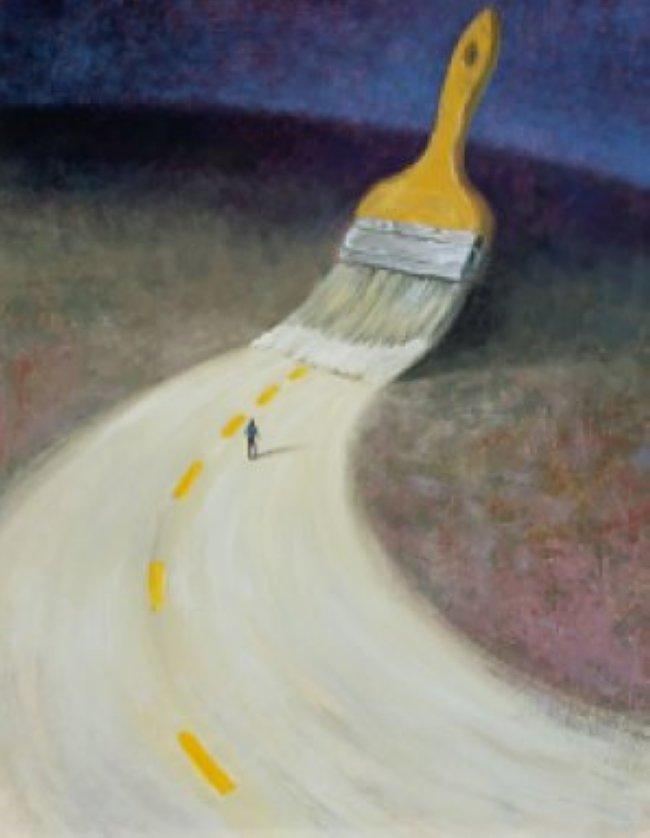 Pincel pinta estrada