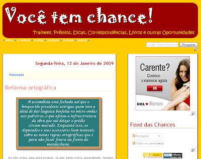 Print do blog Você tem chance!