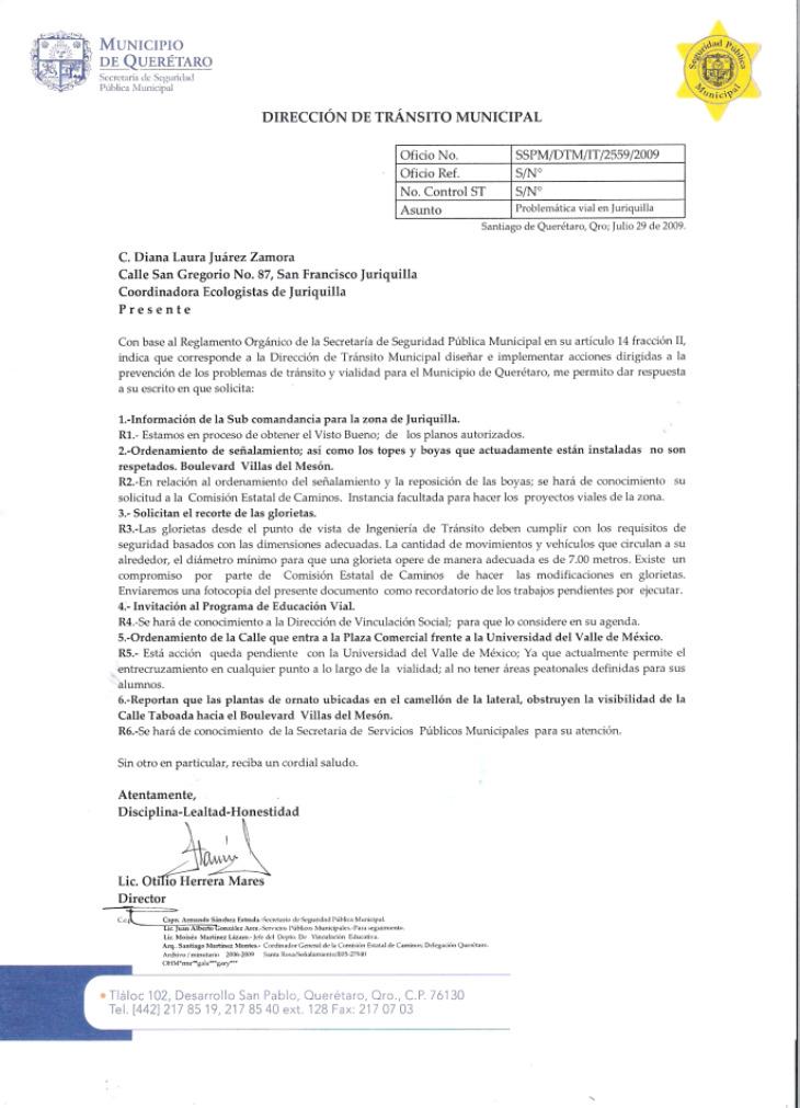 OFICIO DE SEGUIMIENTO DE LA SSP