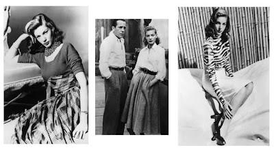 Lauren Bacall e saias de cintura alta