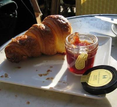Half eaten croissant at Les Deux Magots