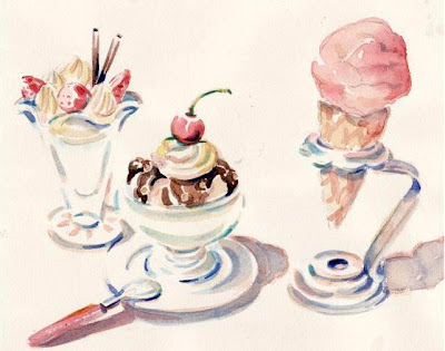 #172 Ice Cream Trio watercolor