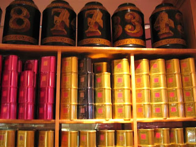 A wall of Fauchon tea tins