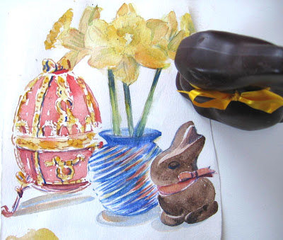 Watercolor study for the Russian Tea Room Easter menu