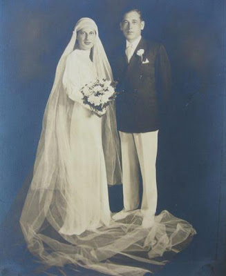 My mother on her wedding day in her bias-cut wedding dress