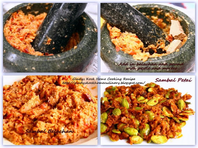 Home-cooked Sambal Belachan and Sambal Petai