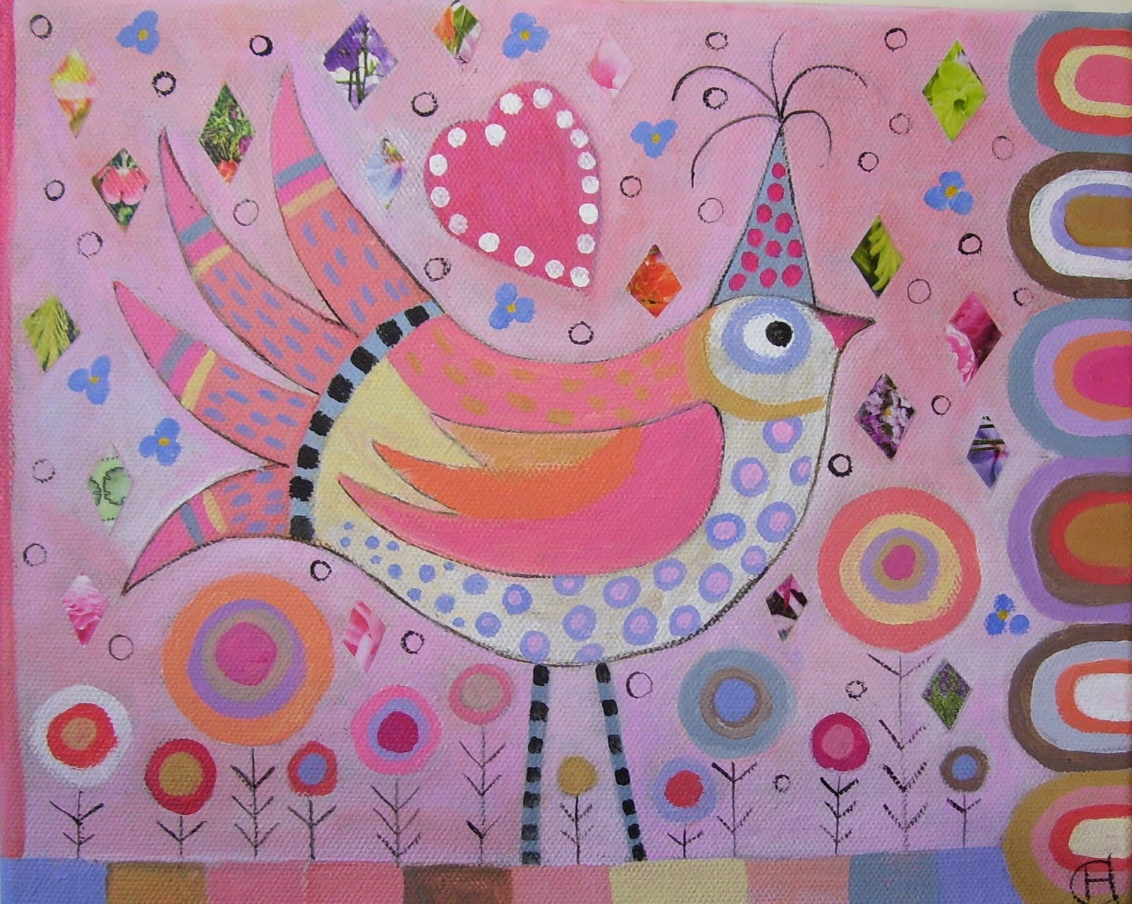Polykromos Folk Art Bird Painting