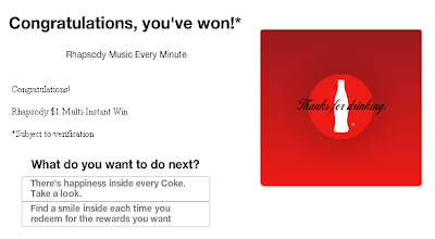 MyCoke Rewards Rhapsody Music Every Minute Instant Win Game