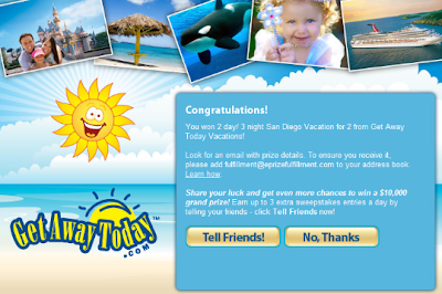 Get Away $10,000 Online Sweepstakes and Instant Win Game Winning Screen Shot