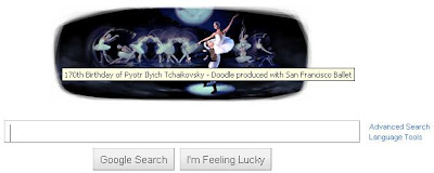 Google Search Bar Today features Tchaikovsky