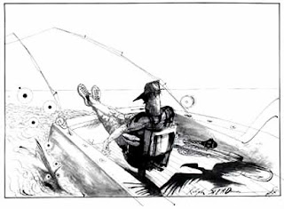 Lono's fighting chair. Ilustración de Ralph Steadman