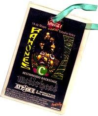 Credencial de Ramones en Velez (Buenos Aires) + Motorhead + Attaque77