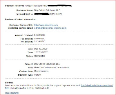 Proof of Payment from MakeThatDollar- $1.39
