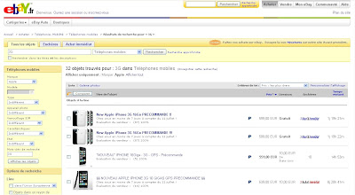 iPhones 3G en vente sur eBay France