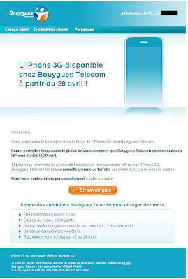 L'iPhone 3G disponible le 29 avril 2009 chez Bouygues Telecom