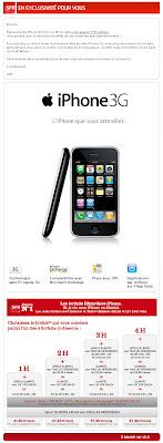 Email invitant les prospects de SFR à réserver leur iPhone