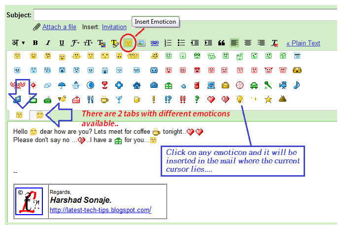 gmail emoticons. the emoticon picker after