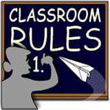 This is an image of a teacher writing on a blackboard under the heading Classroom Rules while a paper airplane is headed in the direction of the blackboard.