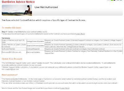 SunSolve Advice Notice - User Not Authorized