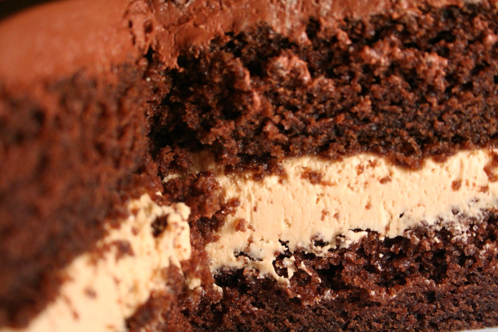 chocolate fudge cake with peanut butter creme filling