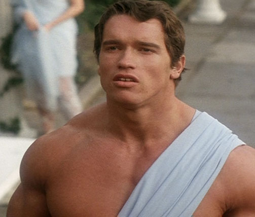 Arnold Schwarzenegger in a scene from his earlier films 'Hercules in New York'