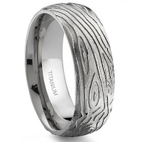 Wood Grained Stainless Steel Mens Ring