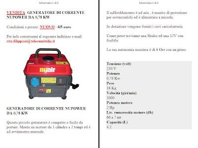 GENERATORE DI CORRENTE NUPOWER DA 0,78 KW