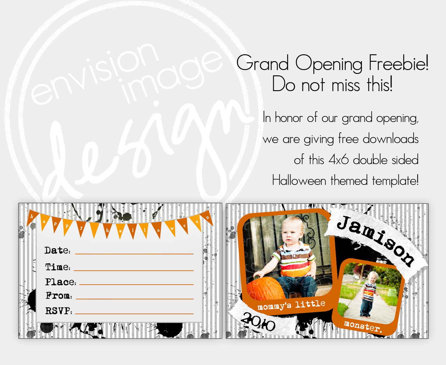 envision image design grand opening freebie 4x6 double sided halloween card template. Black Bedroom Furniture Sets. Home Design Ideas