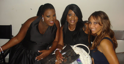 american idol lakisha jones, miss sassy and makeup artist brandy gomez duplessis backstage