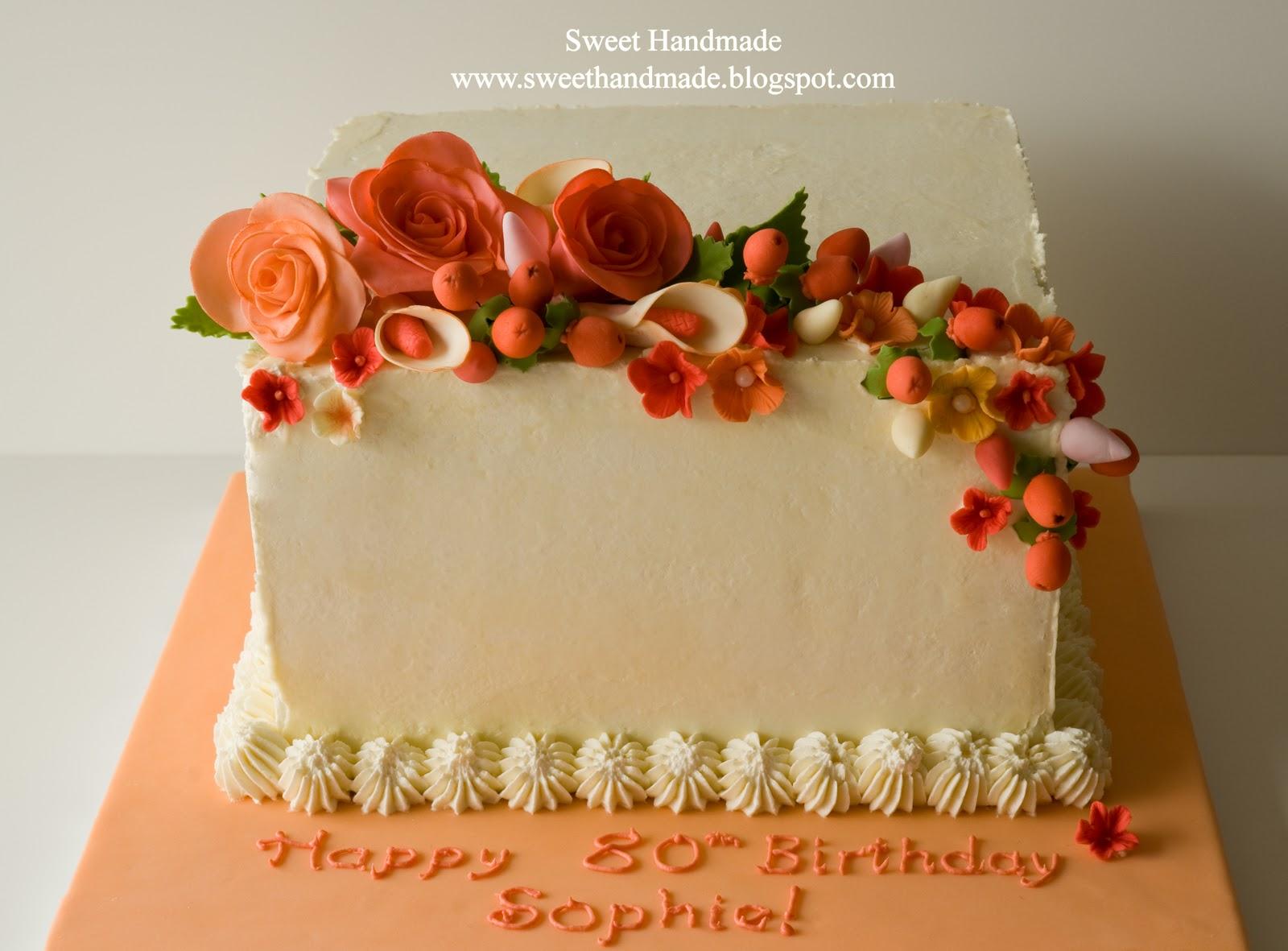 Sweet Handmade Cookies 80th Birthday Cake With Gum Paste Flowers
