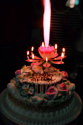 Birthday Cake W Blooming Lotus Candle
