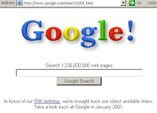 Google's restored 2001 search index