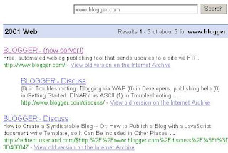 Only 3 hits for www.blogger.com when searching Google's 2001 index