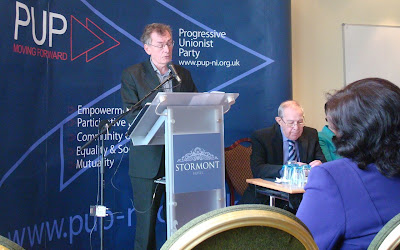 Denis Bradley addressing the PUP conference