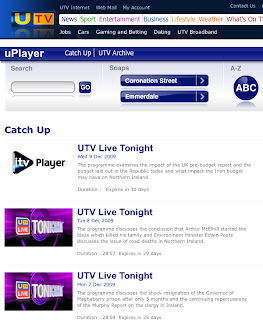 UTV's uPlayer displaying ITV Player branding
