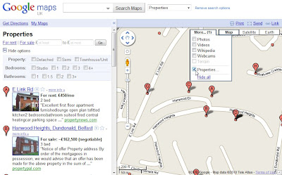 Snippet from Google Maps showing Northern Ireland properties for sale/to rent