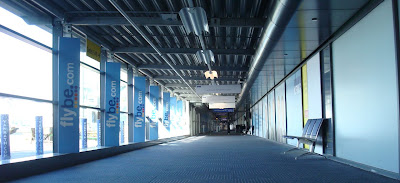 Empty corridor leading to the gates at Belfast City Airport