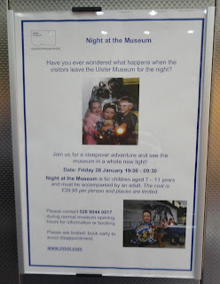 Poster in the Ulster Museum lift advertising their first sleepover