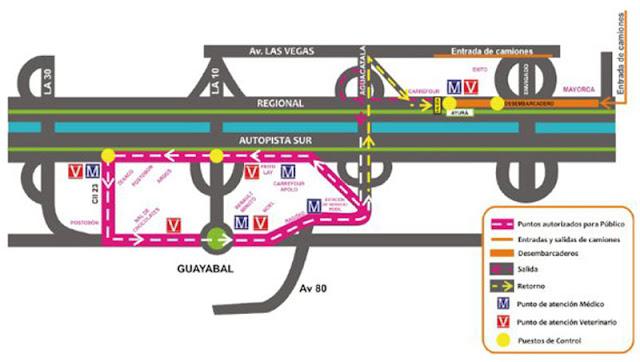 Mapa del recorrido de la Cabalgata Feria de las Flores 2010