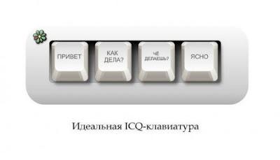Идеальная ICQ клавиатура - 4 клавиши: 'ПРИВЕТ', 'КАК ДЕЛА?'? 'ЧЁ ДЕЛАЕШЬ?' и 'ЯСНО'