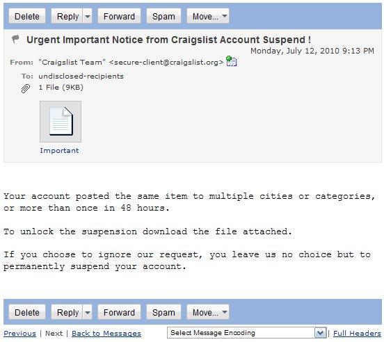 All Techs Considered: ALERT: Craigslist Account Scam/Phishing