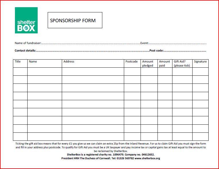 sponsorship form template – Charity Sponsor Form Template