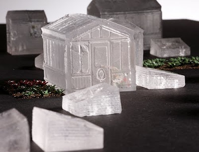 A detail from 'Fringe' a miniature glass allotment made from lost-wax kiln-cast lead crystal and Silver Art clay.