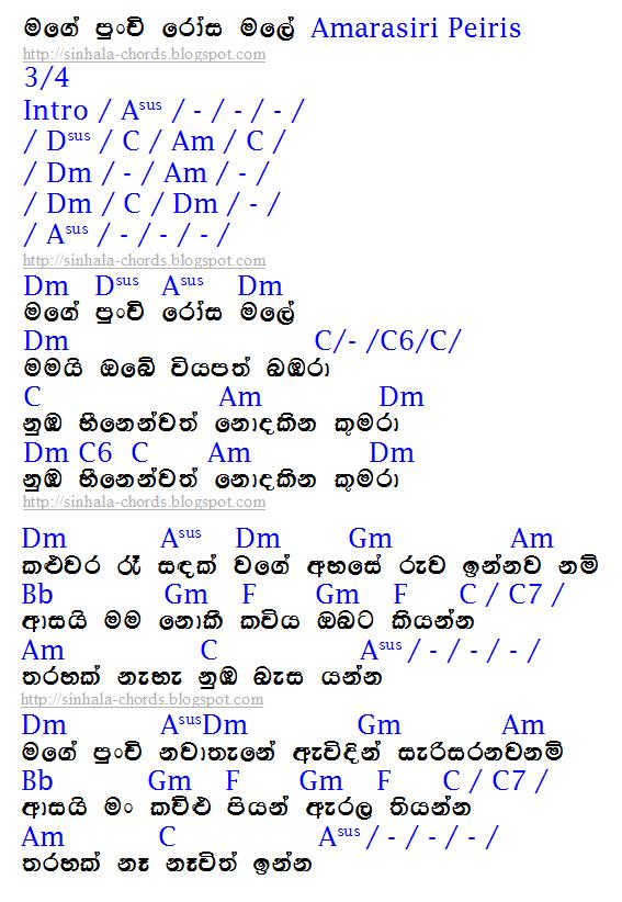 සිංහල ගිටාර් කෝඩ්ස් Sinhala Guitar Chords